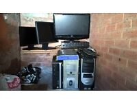 Joblot Pcs monitors computers keyboards and amplifiers