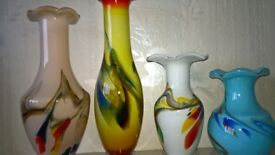 Old End Of Day Glass Vase Collection Four Vases Excellent Condition