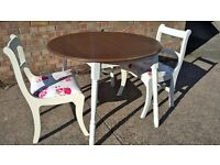 Hand painted drop leaf table and pair of recovered chairs Shabby Chic