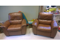 Brown Leather 3 Piece Suite Motorised Reclining Armchairs - For Sale