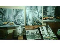 New York Theme Canvases Lot Great LARGE FRAMED Works