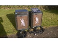 Complete 700W PA system, mixer, power amp, speakers, all stands & cables