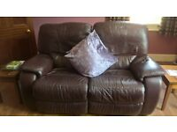 Real leather sofa recliner and 2 chairs