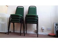 Eight Stackable Office Chairs Green Good Condition
