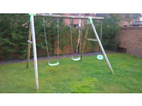 Large Outdoor Wooden Swing Set
