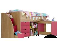 Kids high sleeper set and matching wardrobe for sale
