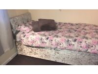 Crushed Velvet single bed with mattress.