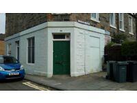 Corner shop/workshop. Leith Links, Edinburgh. Suitable for conversion to a flat.