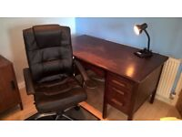 Quality Large Office Desk, Swivel Chair and Cabinet