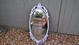 Beautiful Vintage White Oval Mirror