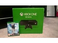 xbox one console, boxed with 1 game excellent condition