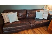 Walnut leather 4 seater sofa with leather footstool