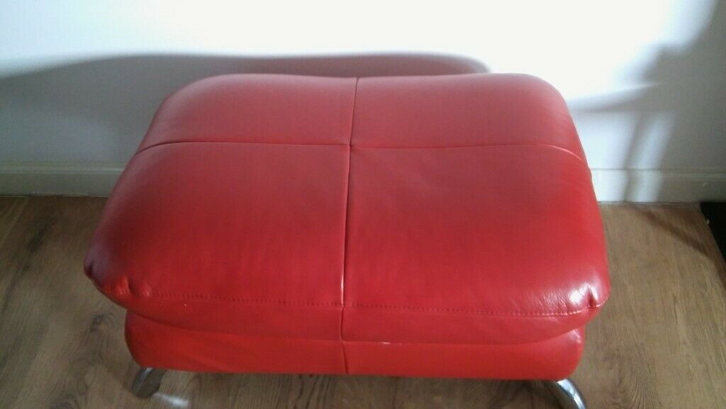 Red Leather Pouffe Footstool