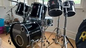 7pc Premier drum kit. Vintage APK - black - with cymbals, hardware & cases.