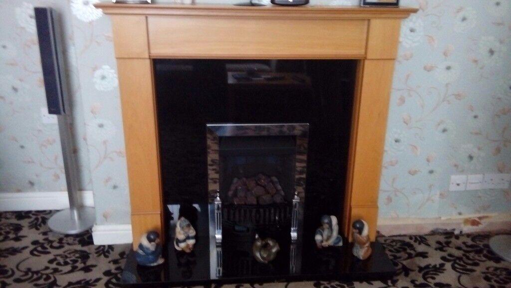 Granite and Wood Fire Surround
