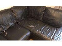 FREE Black Leather Corner Sofa