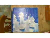 Glass chess set-barely used-frosted glass-blue and clear-great for games and decoration
