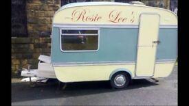 vintage catering caravan/mobile festival food outlet/retro tea coffee stand/takeaway food.