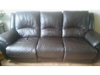 3 seater brown faux leather sofa