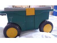 Useful Gardener's Wheeled Tool Cart / Trolley Box and Seat