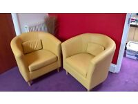 2 X LIGHT YELLOW LEATHER HOME-OFFICE TUB RECEPTION MEETING ROOM CHAIRS