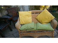 whisker 2 seater sofa good condition ideal for conservatories compleat with cushions