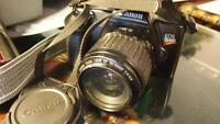 Canon EOS Rebel G SLR Film Camera 35-80mm lens flash sunpak ect
