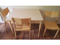 Small dining table and 3 chairs