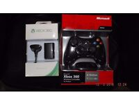 BLACK XBOX 360 CONTROLLER FOR WINDOWS : WITH USB WIRELESS ADAPTOR FOR YOUR PC & PLAY AND CHARGE KIT