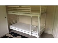 White metal bunk bed (IKEA) with two matressess