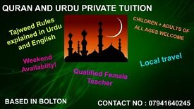 QURAN and URDU 1-1 tuition classes with qualified female teacher.