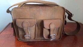 scaramanga - vintage leather flight bag - brown - W33cm x H25cm x D12cm