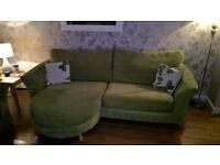 Green 4 Seater Sofa & Chair