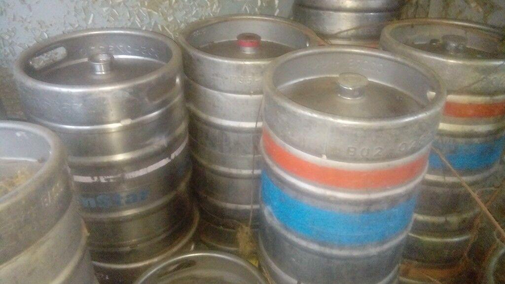 18 empty beer kegs