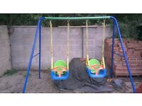Double Swing Set includes toddler seats