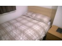 Double Bed Frame IKEA MALM excellent condition - White stained oak veneer (mattress also available)