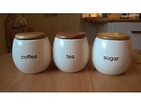 Ceramic tea, sugar and coffe containers