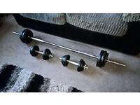 York 50kg Barbell/Dumbells Cast Iron Weight Set