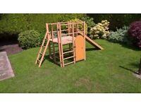 Wooden climbing frame.
