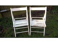 2 wooden folding garden chairs