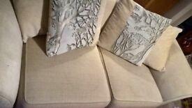 Cream 2/3 Seater Cushion Back Sofa
