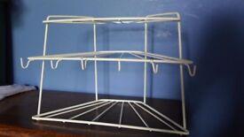 Vintage 1960s, white, plastic-coated metal, 3-tier, kitchen corner cupboard, plate & crockery rack