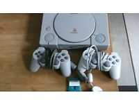 PS1 WITH 5 GAMES 2 CONTROLLERS 1 MEMORY CARD ALL TESTED AND WORKING