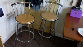 2 Metal with wood kitchen bar stools/chair (whatever price)