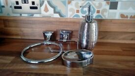 Bathroom toilet roll holder, towel ring, soap dish matching soap Dispenser, chrome, from BHS