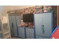 One wardrobe and one drawers - good clean condition. Selling as no longer need 2 sets
