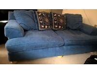 Blue Sofa and Chair for Living room, with a footstool FREE!