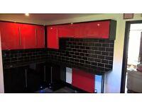 red & black designer kitchen real granite worktops MUST GO THIS WEEKEND!