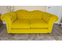 Nearly new Joules Windsor 2 seater sofa x 2 in purple or yellow velvet