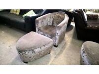 Lovely Velvet chair & footstool Mink Delivery Poss